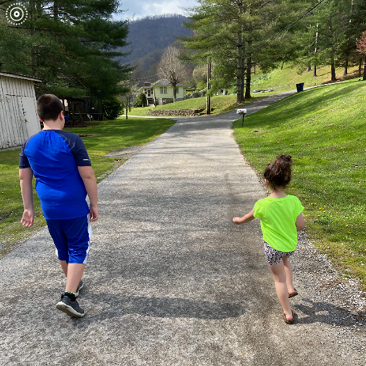 Kennedy and Kaiden Walking spring