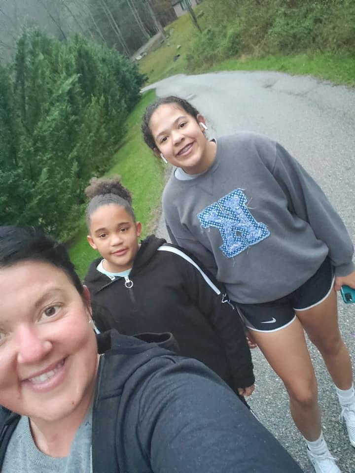 Aymanni and PeyShaunce Wynn walking with their mom during our walking challenge